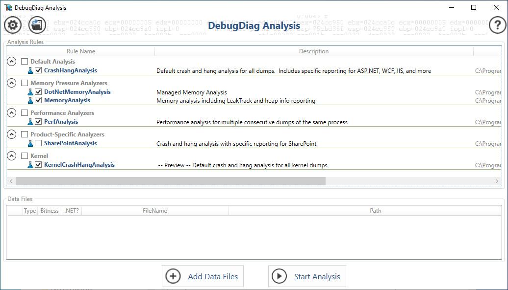 Screenshot 1 - Debug Diagnostic Tool (DebugDiag)