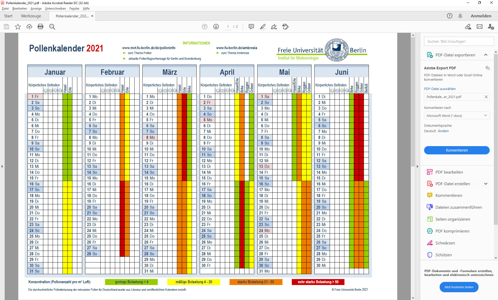 Screenshot 1 - Pollenkalender 2021