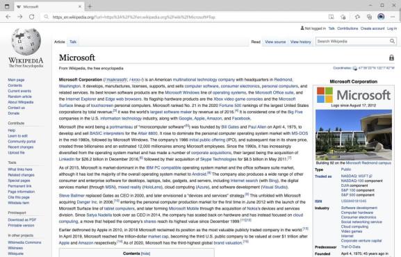 Screenshot: Immersive Reader Wikipedia Edge Microsoft©Microsoft