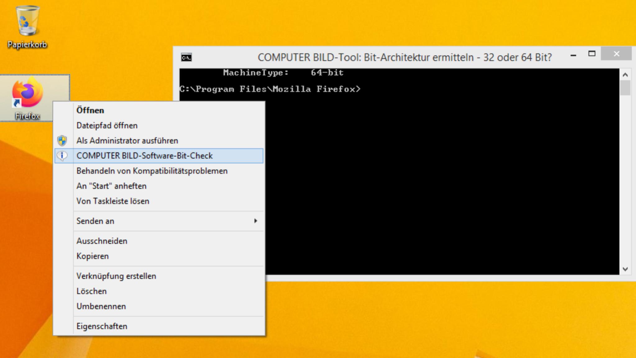 Screenshot 1 - COMPUTER BILD-Software-Bit-Check