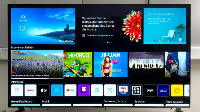 Der neue LG OLED G1 im Test: Besser geht es kaum! LG will mit der neuen Vollbild-Ansicht seines WebOS-Betriebssystems die Auswahl in der Streaming-Vielfalt erleichtern, das Werbefenster oben in der Mitte stört aber dabei.©COMPUTER BILD