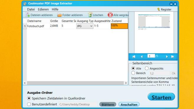 Gratis-Vollversion: Coolmuster PDF Image Extractor extrahiert aus PDFs Bilder©COMPUTER BILD