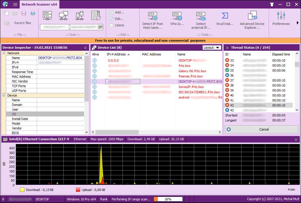 Screenshot 1 - MiTeC Network Scanner