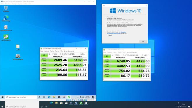 RAM-Disk: Einrichten und Caches umleiten – für mehr Datenschutz und Tempo Links sehen Sie den Benchmark-Test von einem RAM-Windows, rechts siegen die Testresultate des echten Windows (das von der SSD läuft und nur zu einem Teil im RAM).©COMPUTER BILD