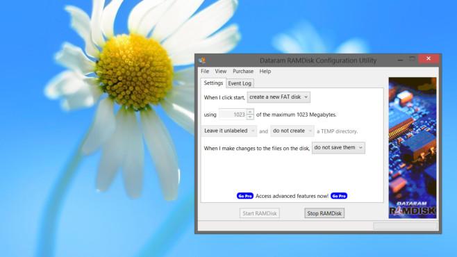 RAM-Disk: Einrichten und Caches umleiten – für mehr Datenschutz und Tempo Das Tool von Dataram ist in seiner GUI/Oberfläche übersichtlich.©COMPUTER BILD