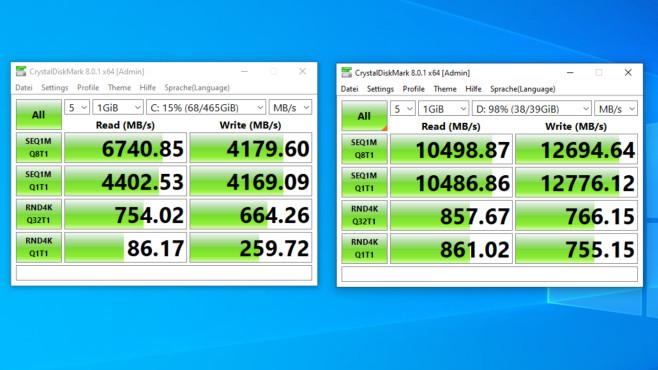RAM-Disk: Einrichten und Caches umleiten – für mehr Datenschutz und Tempo Es ist kein RAM-Windows gebootet: Hier sehen Sie Testläufe von unserer internen PCIe-4-SSD und von einer RAM-Disk.©COMPUTER BILD