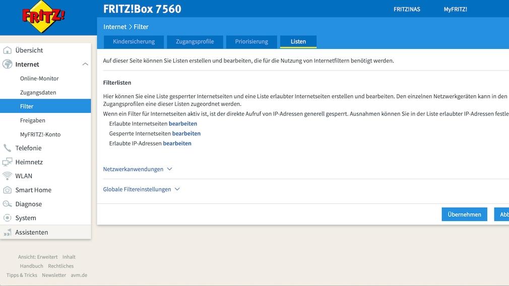 FritzBox: Seiten sperren