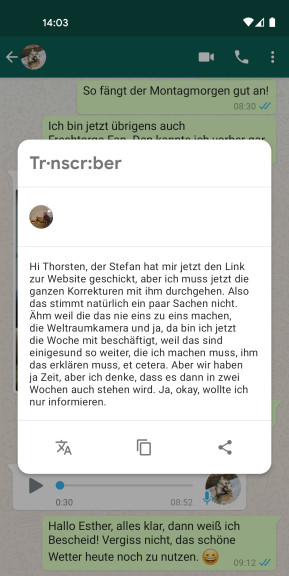 Transcriber for WhatsApp (Android-App)