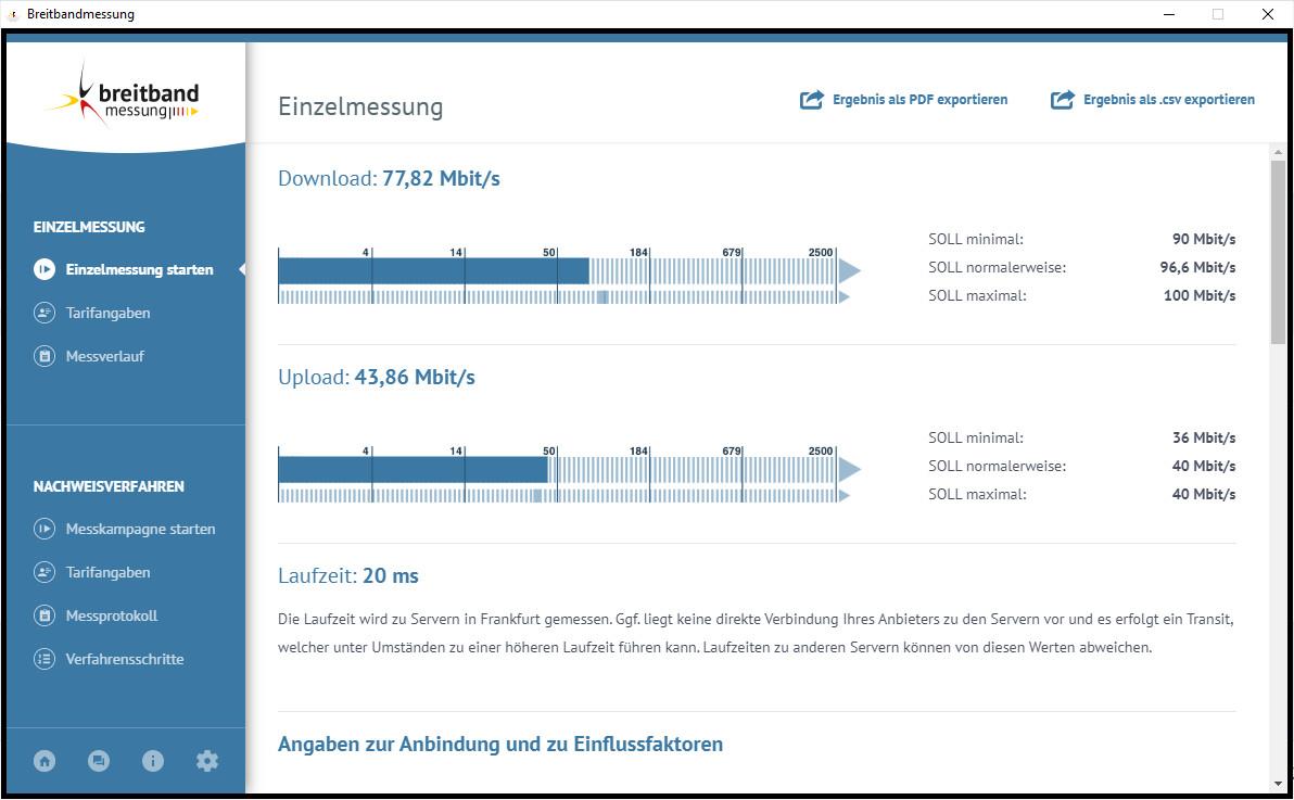 Screenshot 1 - DSL-Breitbandmessung (Speedtest der Bundesnetzagentur als Desktop-App)