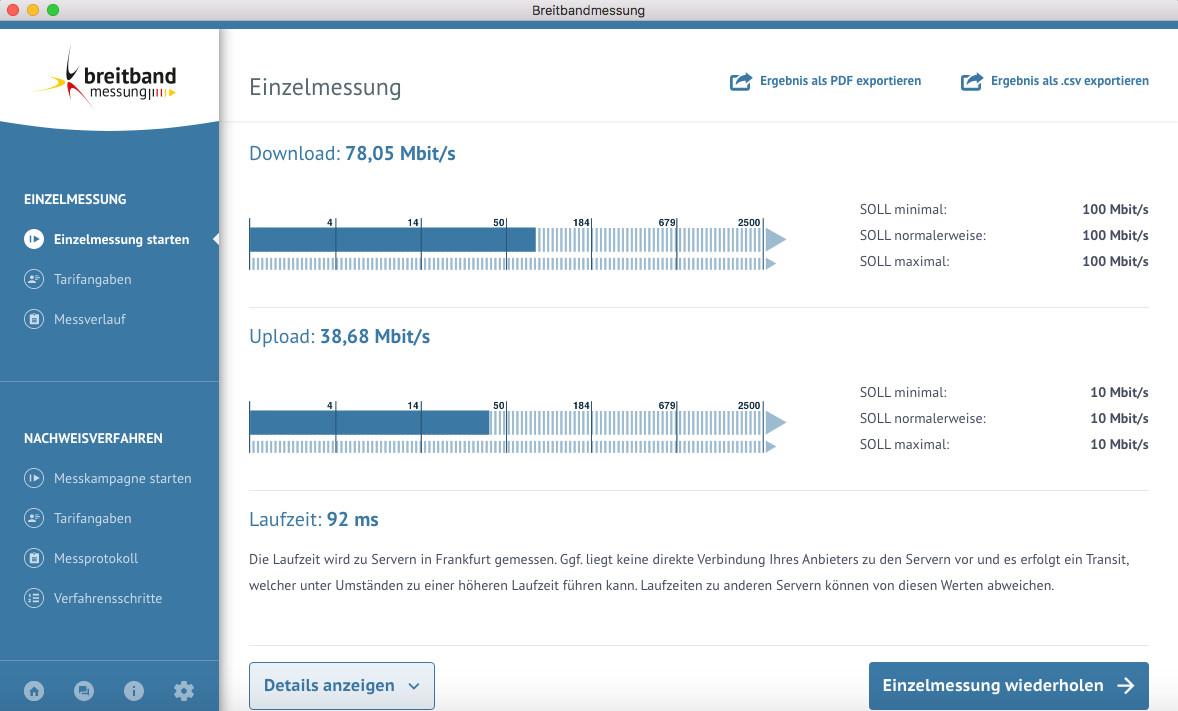 Screenshot 1 - DSL-Breitbandmessung (Speedtest der Bundesnetzagentur) (Mac)