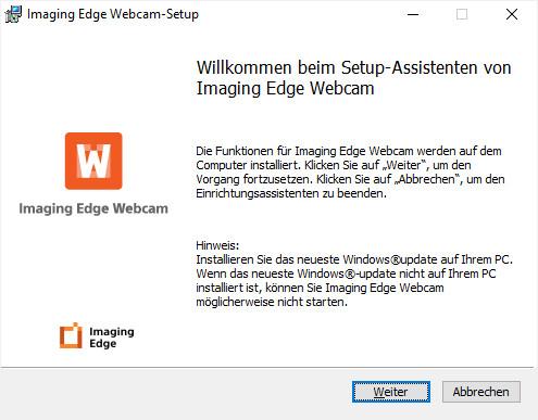 Screenshot 1 - Sony Imaging Edge Webcam
