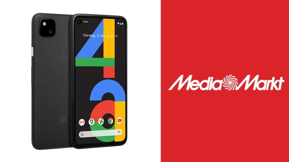 Google Pixel 4a neben Media-Markt-Logo