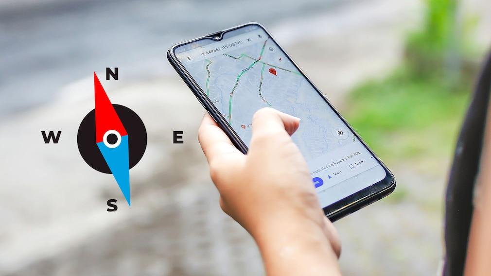 Google Maps und ein Kompass