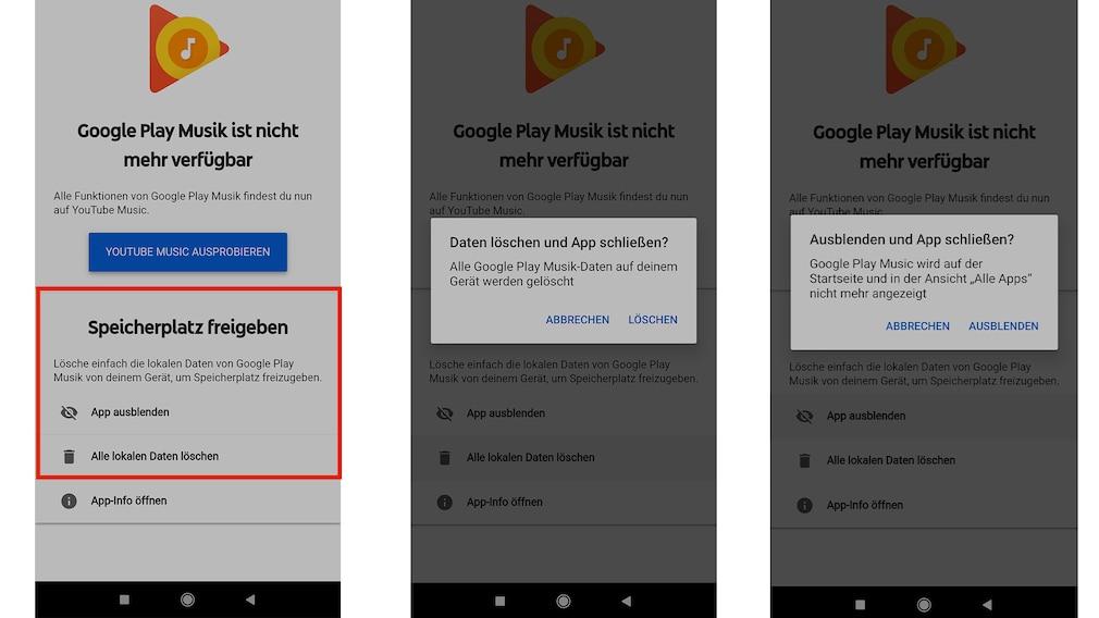Screenshots Google Play Music