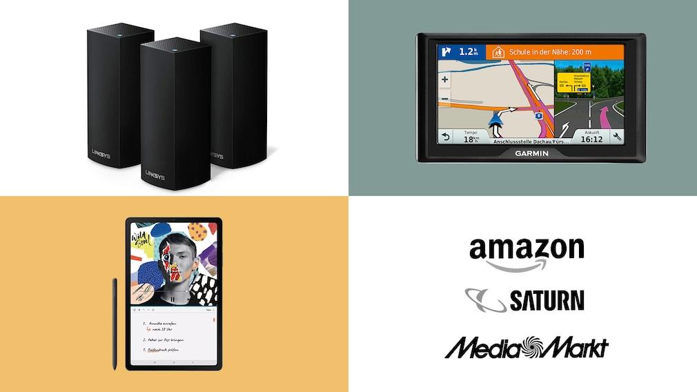Amazon, Media Markt, Saturn: Top-Deals des Tages!©Saturn, Amazon, Media Markt, Samsung, Garmin, Linksys