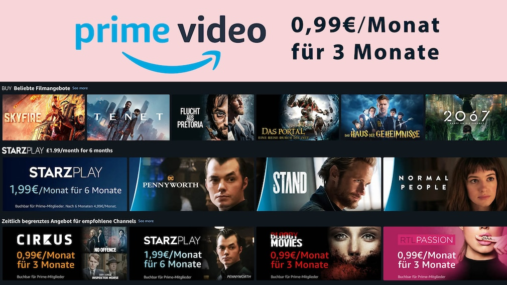 Amazon Prime Video Channels: Drei Monate für je 99 Cent Streaming-Freunde, aufgepasst: Amazon haut mehrere über Prime Video verfügbare Channels aktuell zum Spitzenpreis raus.