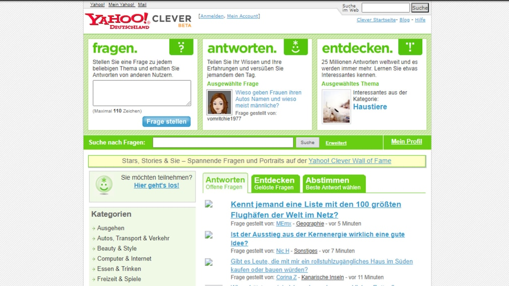 Yahoo Clever wird im April 2021 eingestellt: Dienst verkündet sein Aus Ein Screenshot aus dem Jahr 2006 von archive.org – so sah der Dienst früher aus.