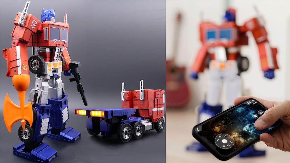 Interkativer Hasbro/Robosen Roboter Optimus Prime und Smartphone