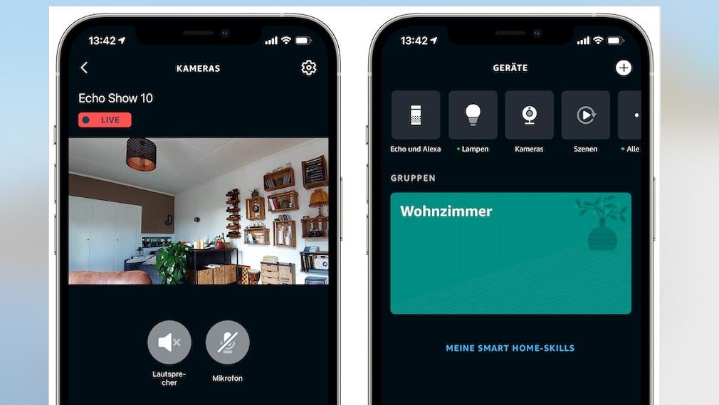 Amazon Echo Show 10, Überwachung in der Alexa-App