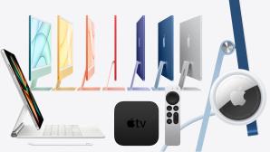 Gemaltes, buntes Apple-Logo vor wei�em Hintergrund.©Apple