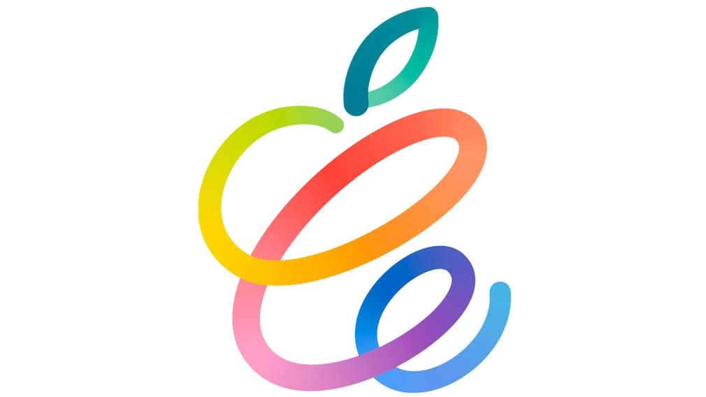 Gemaltes, buntes Apple-Logo vor weißem Hintergrund.