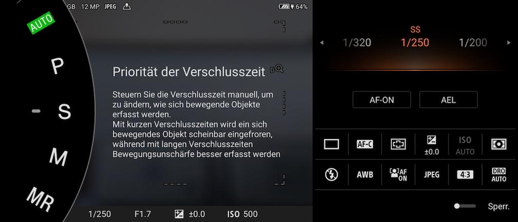 Sony Xperia 1 III: Kamera P- und S-Automatik