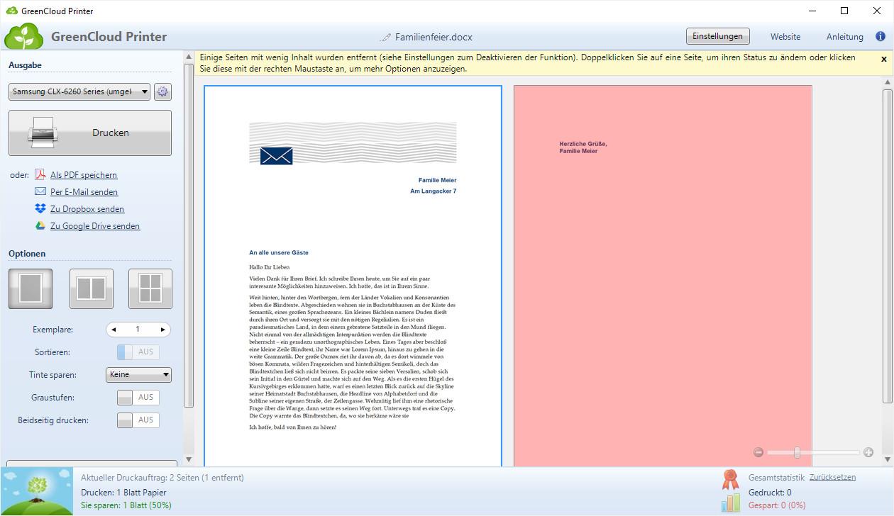 Screenshot 1 - GreenCloud Printer