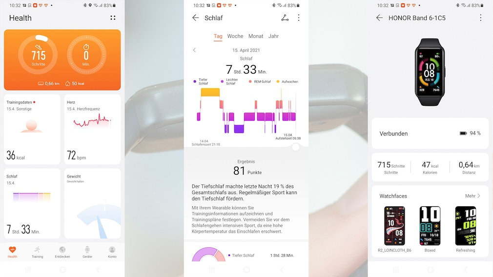 Huawei Health App mit Honor Band 6