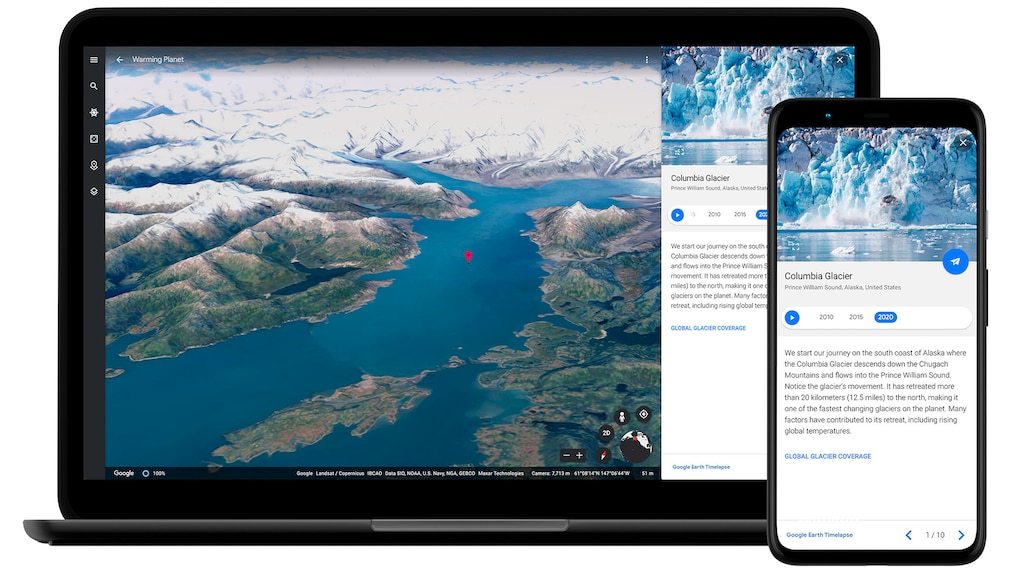 Google Earth auf einem Notebook und Smartphone.