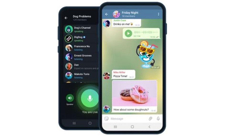 Smartphones mit Telegram-Screen