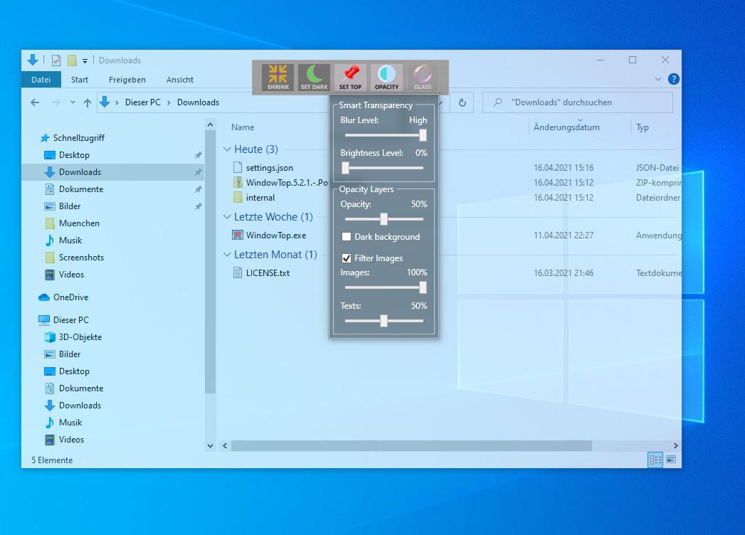 Screenshot 1 - WindowTop Portable