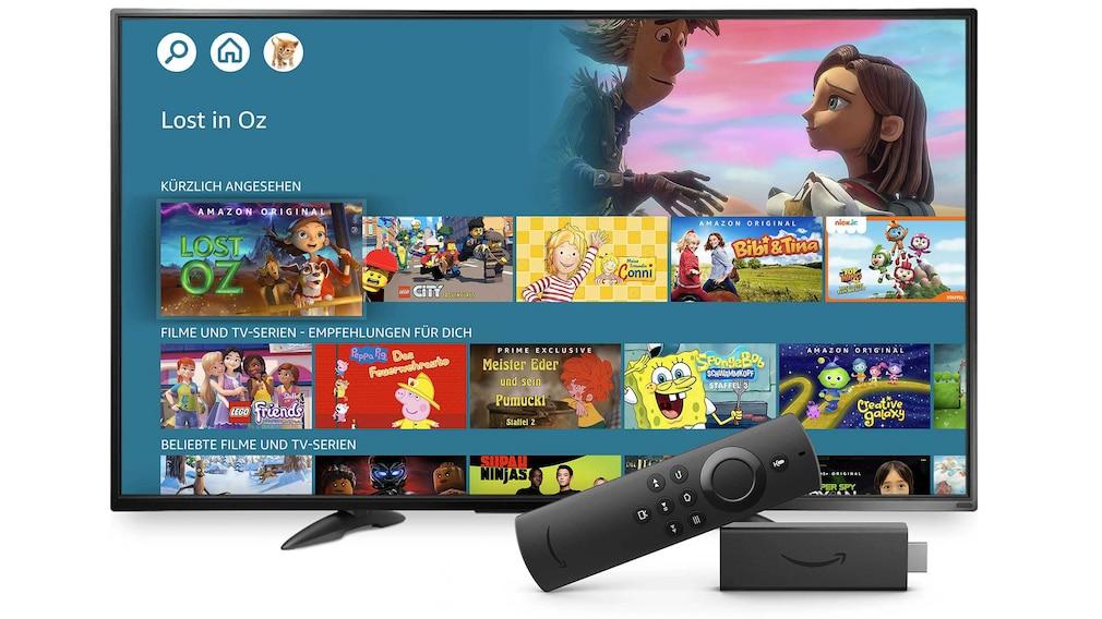 Amazon-Kinder-Profil auf einem Fernseher.