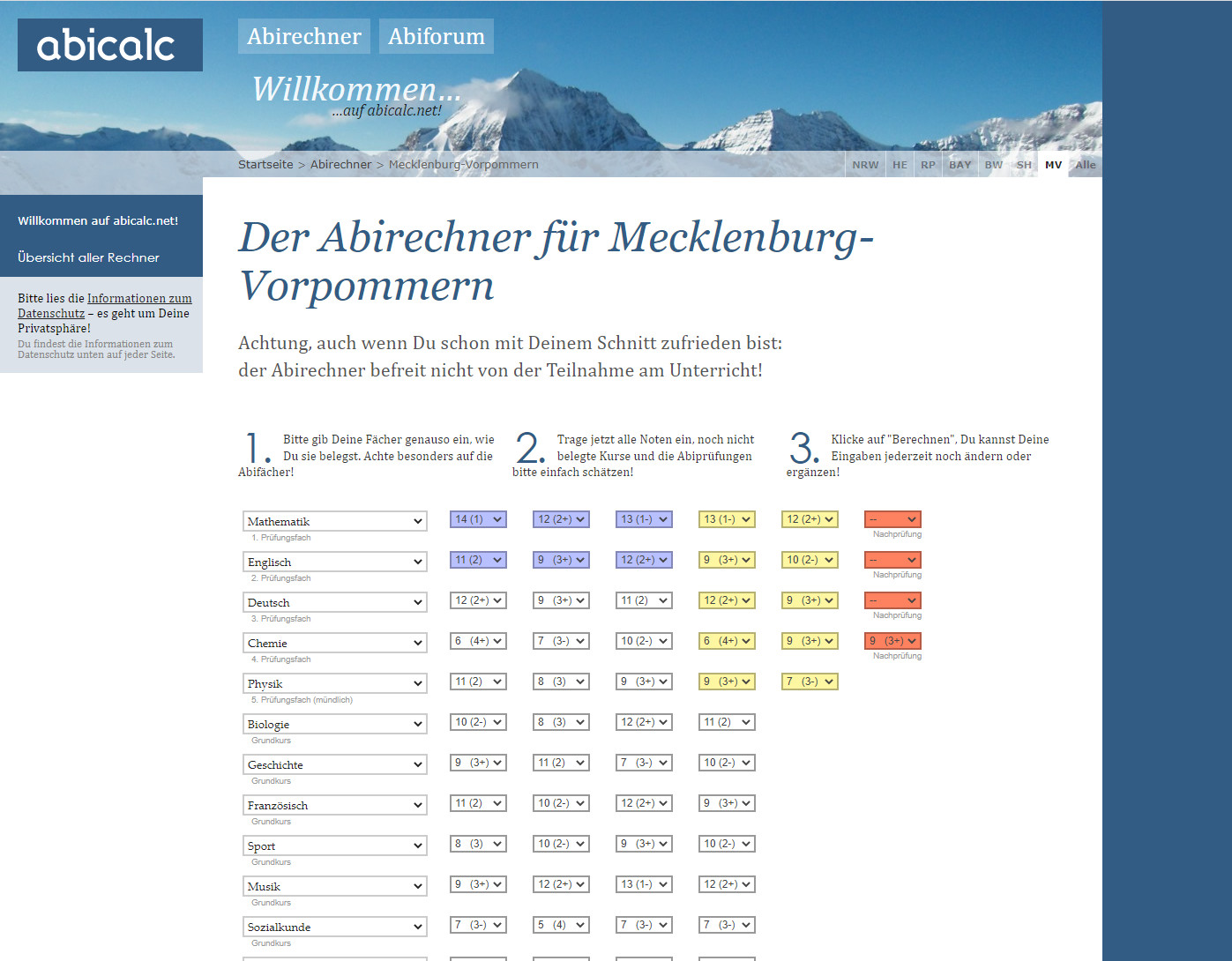 Screenshot 1 - Abicalc Abirechner