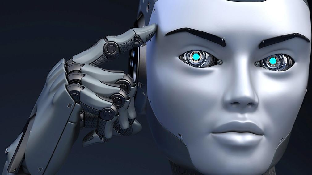 Roboter, der auf seinen Kopf zeigt