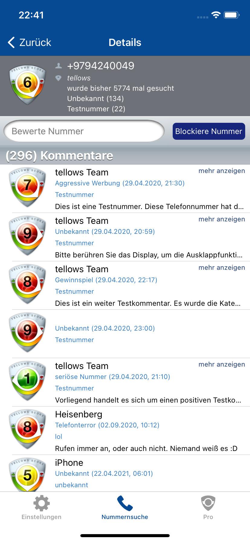 Screenshot 1 - Tellows: Anrufe erkennen & blockieren (iPhone-App)