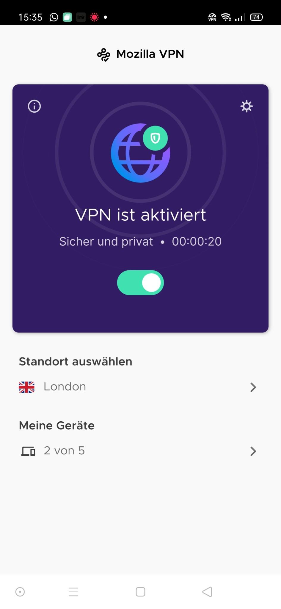 Screenshot 1 - Mozilla VPN (Android-App)