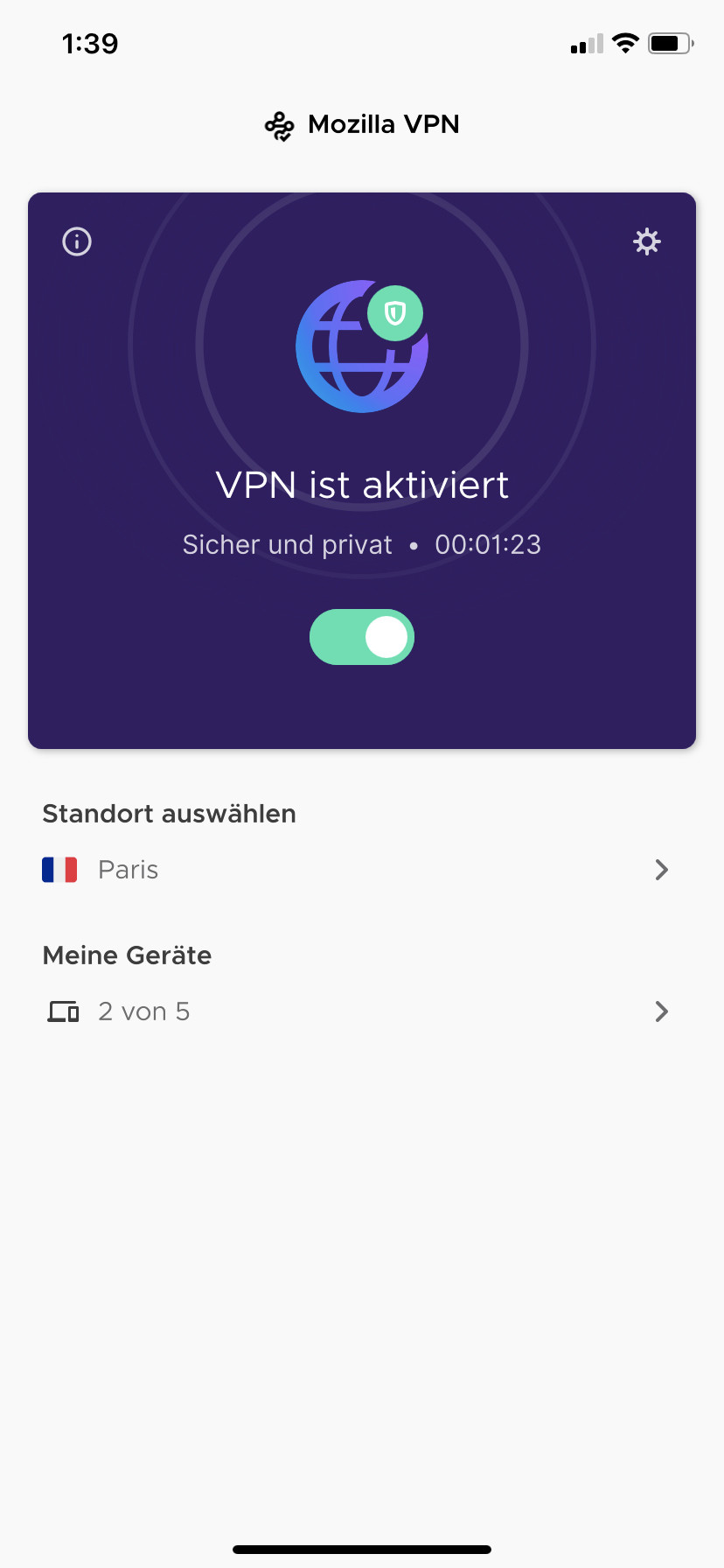 Screenshot 1 - Mozilla VPN (App für iPhone & iPad)