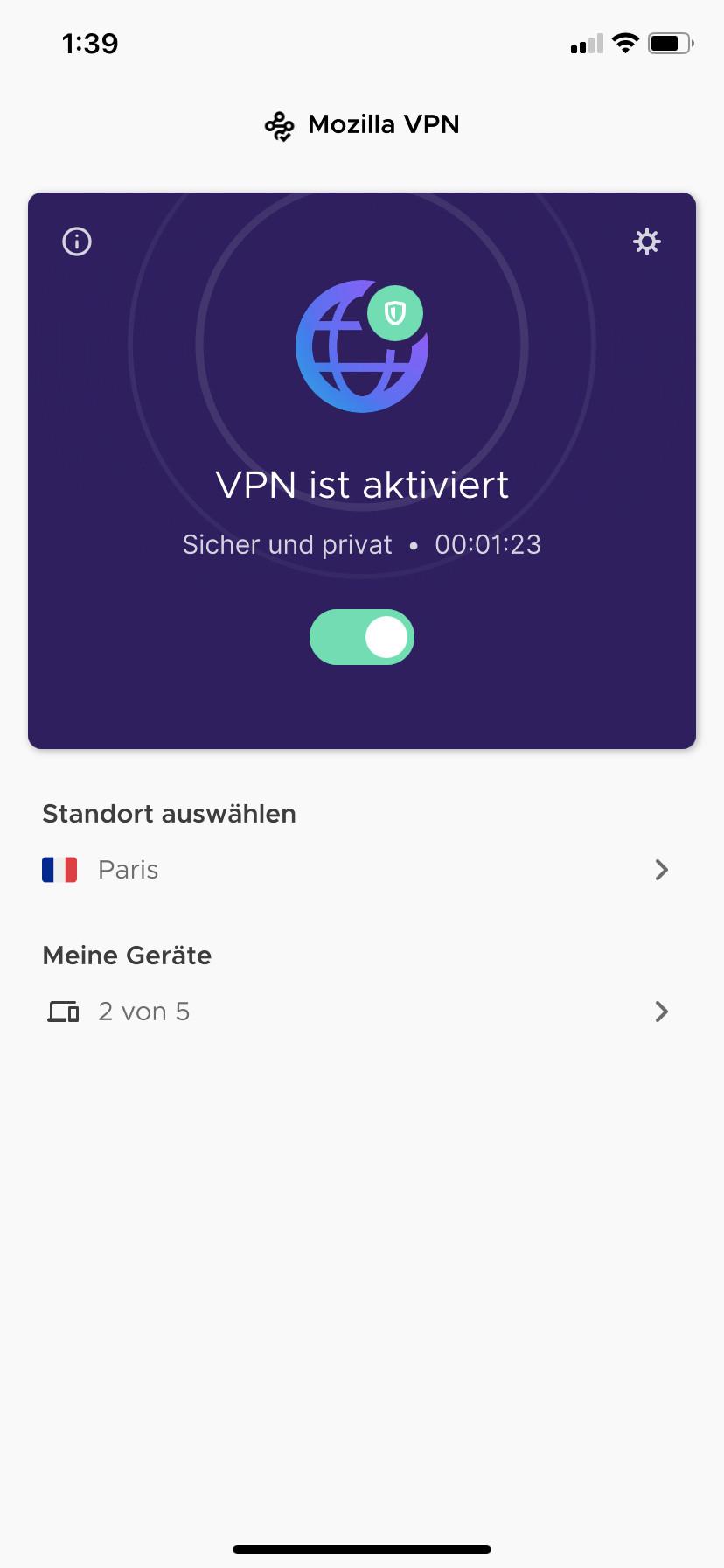 Screenshot 1 - Mozilla VPN (App für iPhone & iPad)
