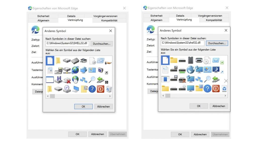 Windows-Symbole: 21H1 links, 21H2 rechts