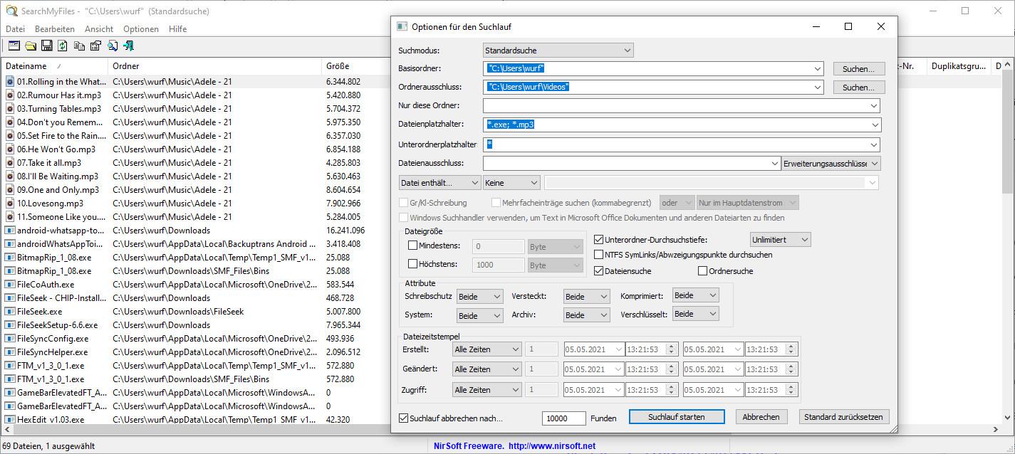 Screenshot 1 - SearchMyFiles