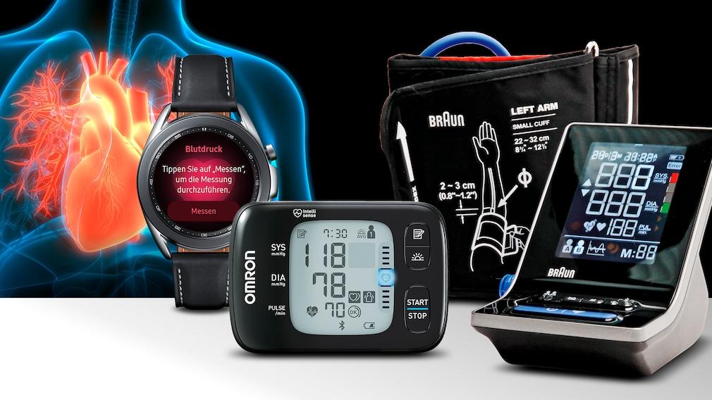 Blutdruckmessgeräte-Test©iStock.com/magicmine, Omron, Braun, Samsung, Montage: COMPUTER BILD