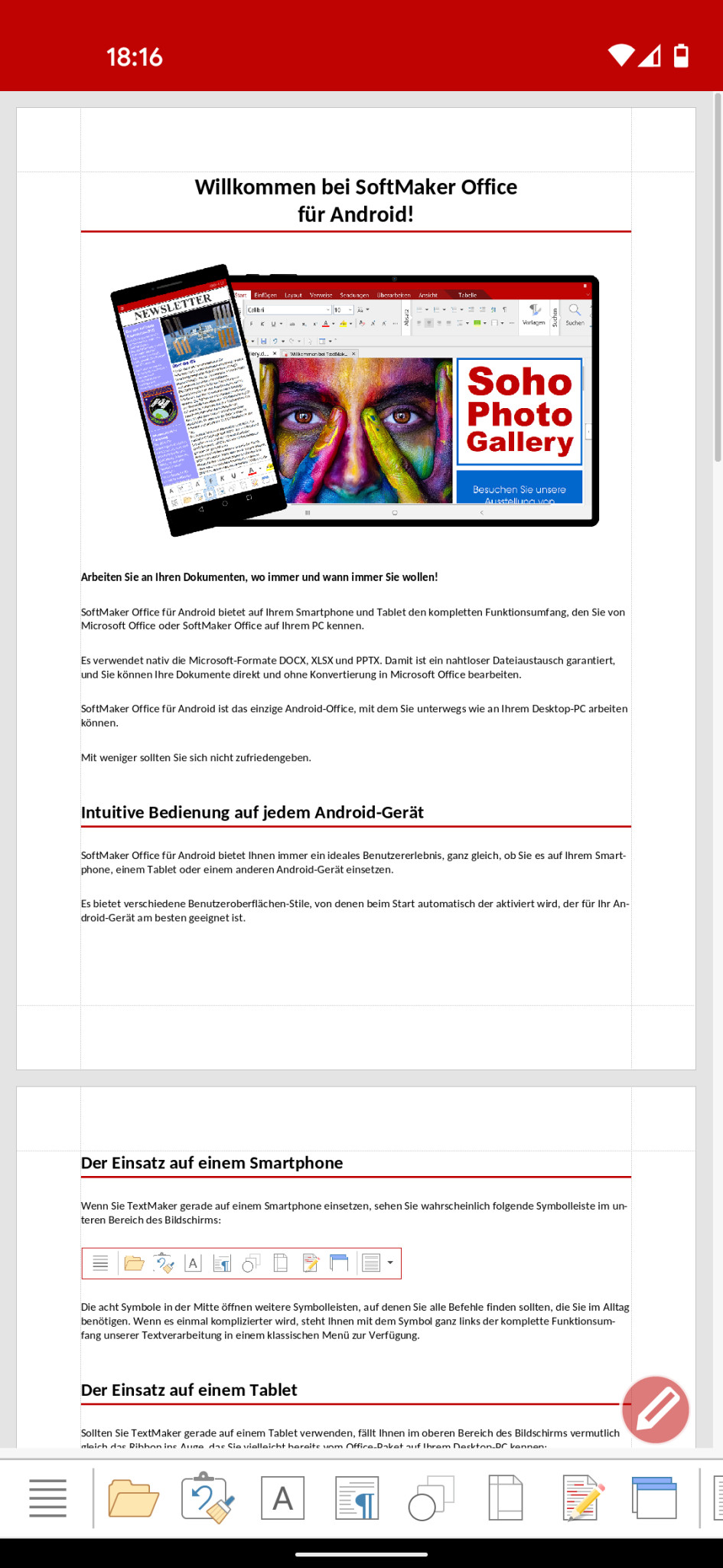 Screenshot 1 - SoftMaker Office TextMaker (Android-App)