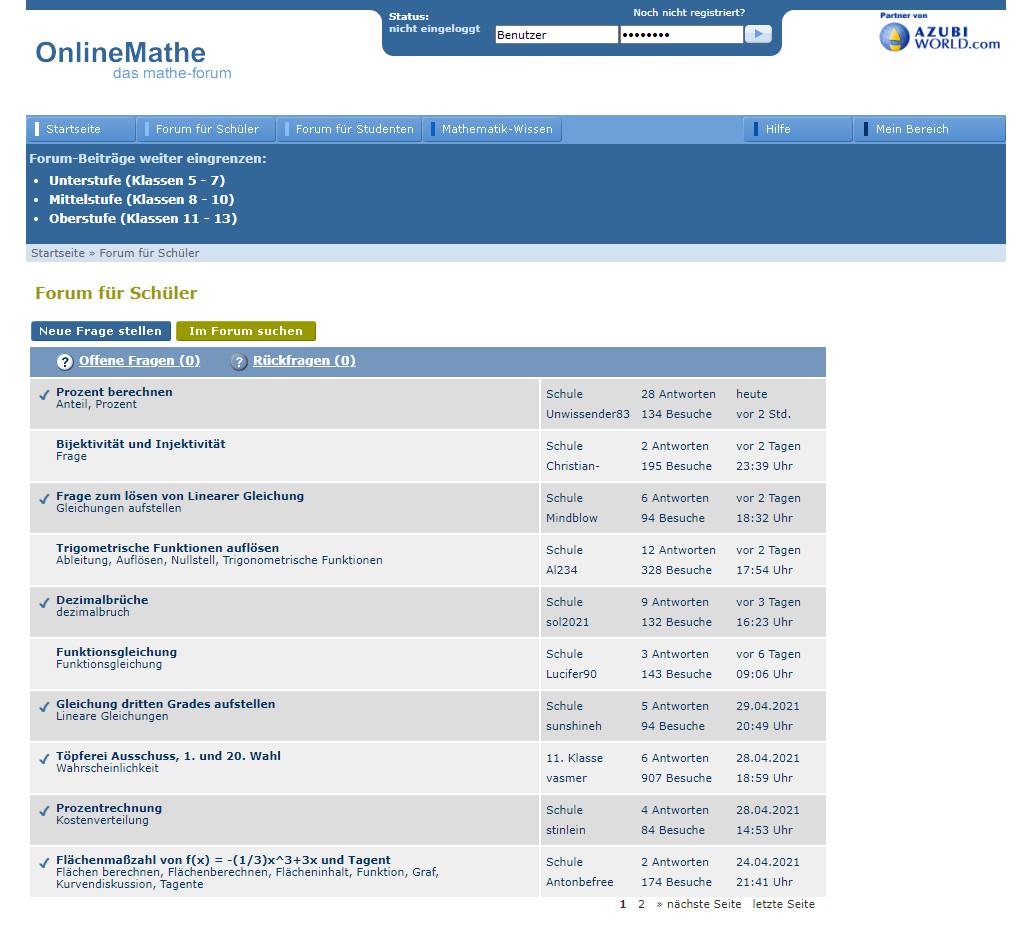 Screenshot 1 - OnlineMathe: Das Mathe-Forum