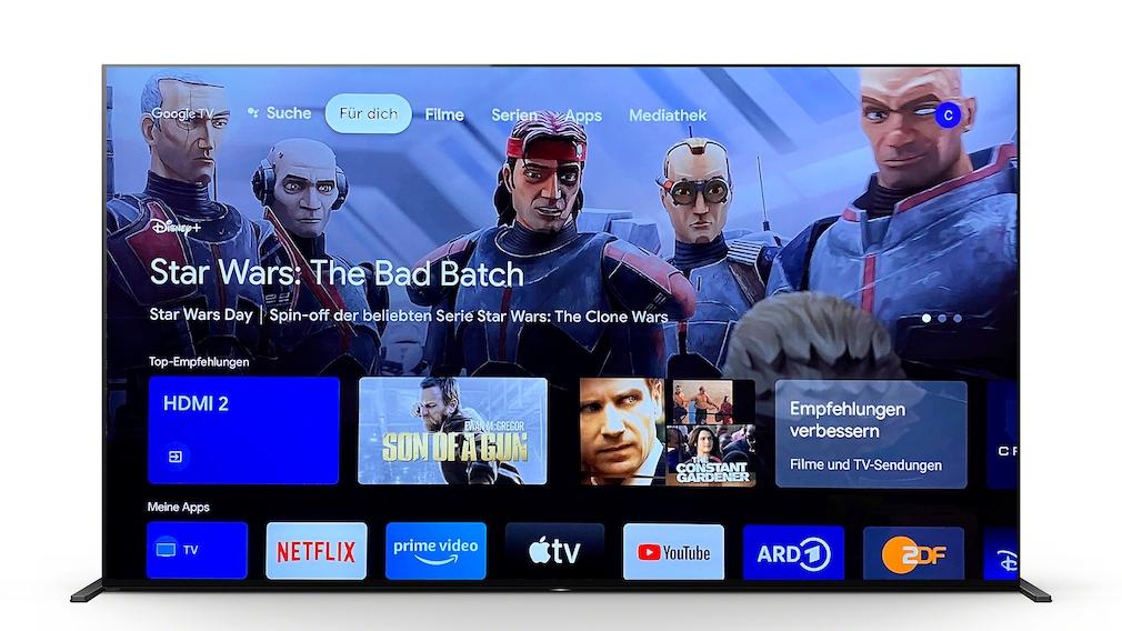Der Sony A90J arbeitet mit Android 10 plus neuer Benutzeroberfläche Google TV.