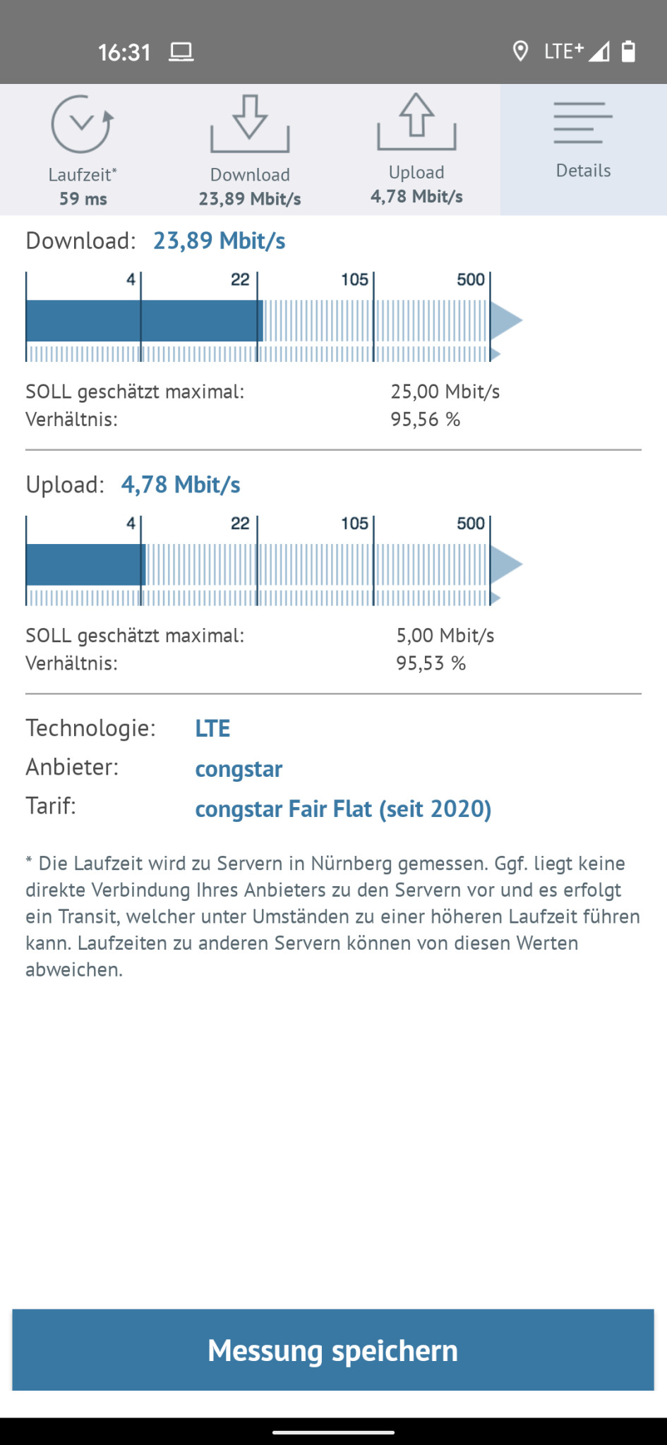 Screenshot 1 - Breitbandmessung (Android-App)
