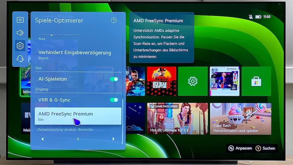 Der Spiele-Optimierer des LG OLED C1 erlaubt hilfreiche Einstellungen für Gamer.