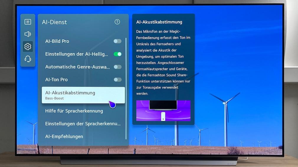 Die AI Akustikabstimmung stellt den Klang des LG OLED C1 passend zu seiner Umgebung ein.