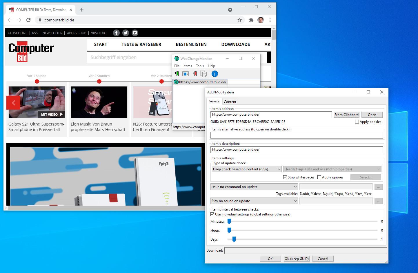 Screenshot 1 - WebChangeMonitor
