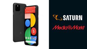Google Pixel 5 neben Logo von Media Markt und Saturn©Media Markt, Saturn