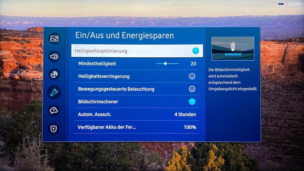 Die zuschaltbare Helligkeitsoptimierung zügelt den Samsung QN85A